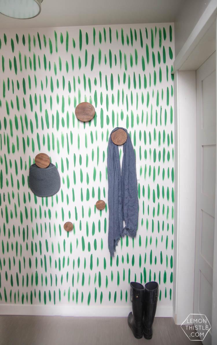 DIY Hand Painted Wallpaper I Love The Green Brush Stroke Pattern Looks So Easy