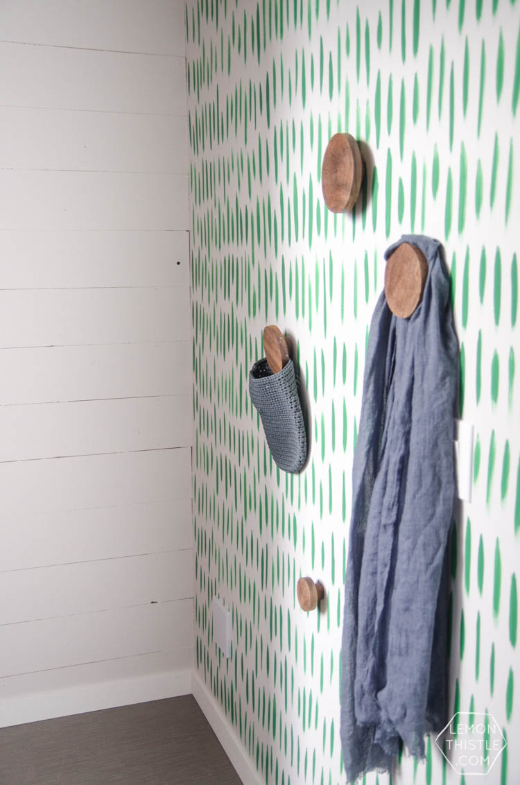 DIY Hand Painted Wallpaper- I love the green brush stroke pattern! Looks so easy too