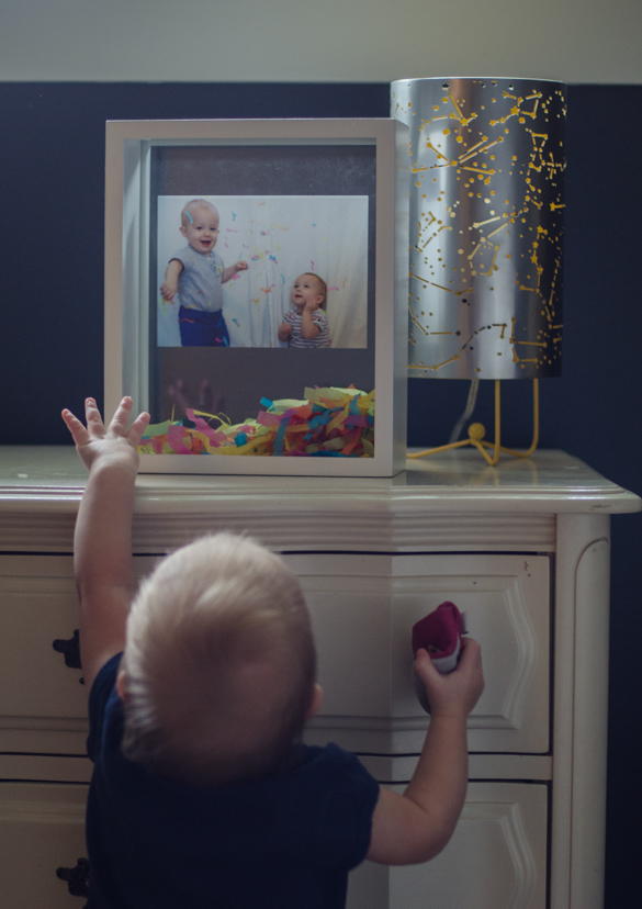 DIY Confetti Filled Shadow Box- this is such a fun idea! I love it for a kids room or even for an engagement!