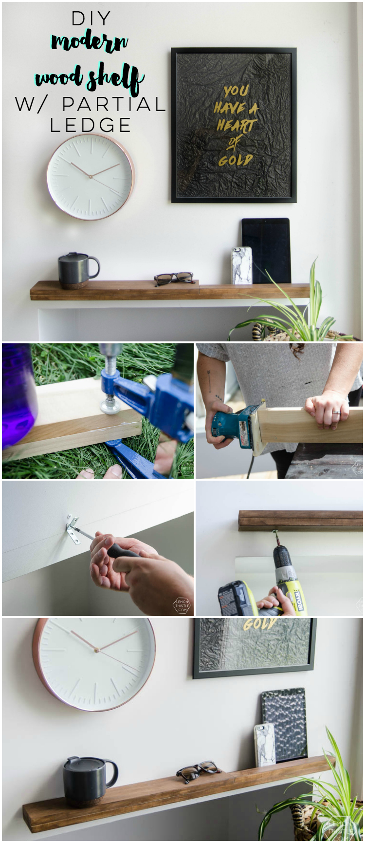 I LOVE this DIY modern wood shelf for an entry way. It's totally minimal but really functional with that ledge.