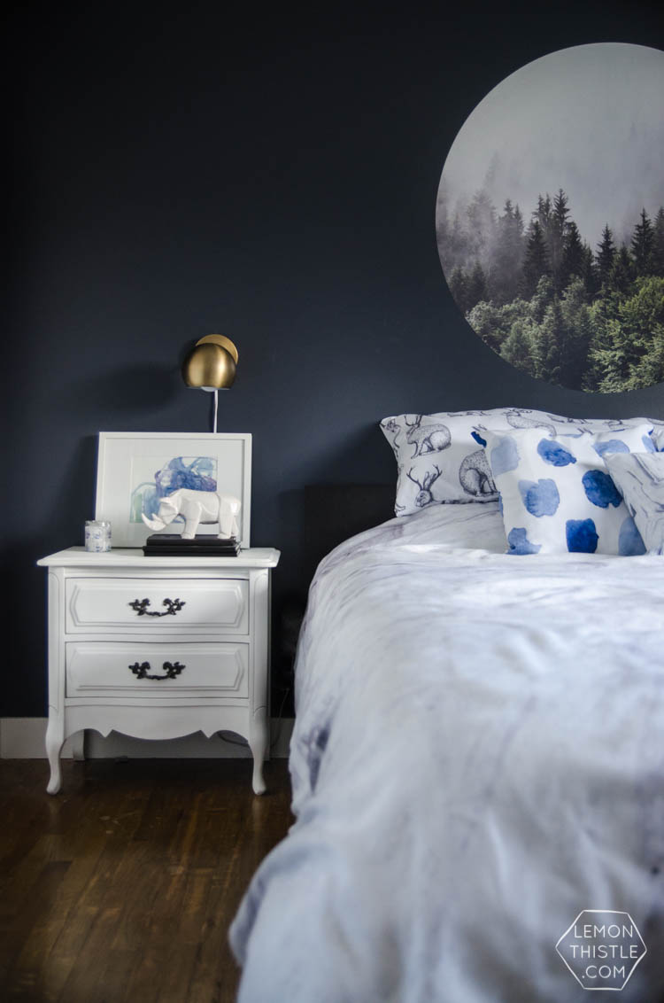 I LOVE This Moody Navy Bedroom  The Forrest, The Gallery Wall  The Brass