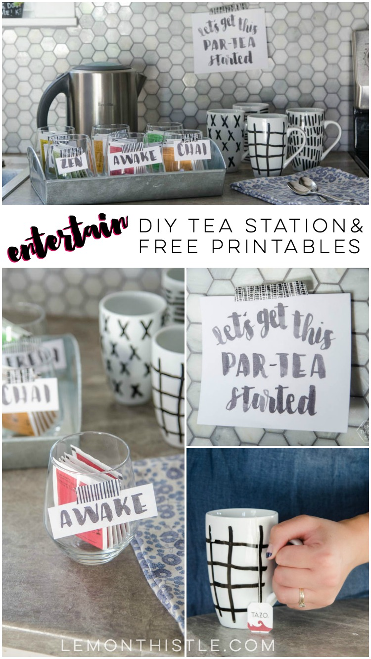What a sweet idea for entertaining! A simple tea station with printable labels... let's get this part-tea started!