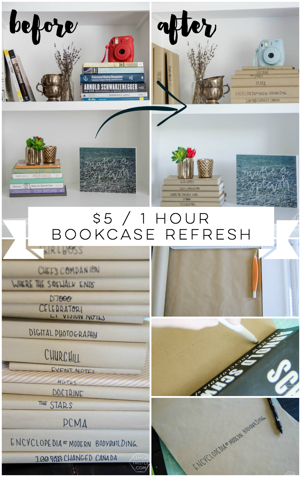 I love this bookshelf refresh! SUCH a big difference. I can't believe the simple book covers do so much.