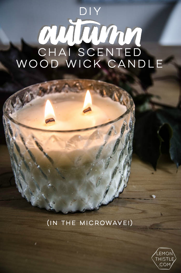 Chai Scented Wood Wick Candle (in the microwave!) - Lemon