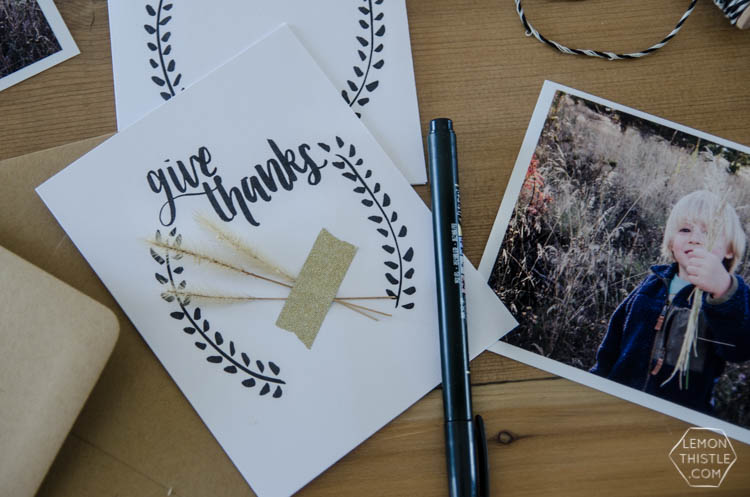 Give Thanks Card- Free printable hand lettered card for Thanksgiving- great activity for kids too!
