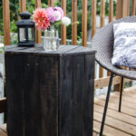 DIY Hexagon shaped side table made out of pallet wood and ebony stain; side table for an outdoor deck