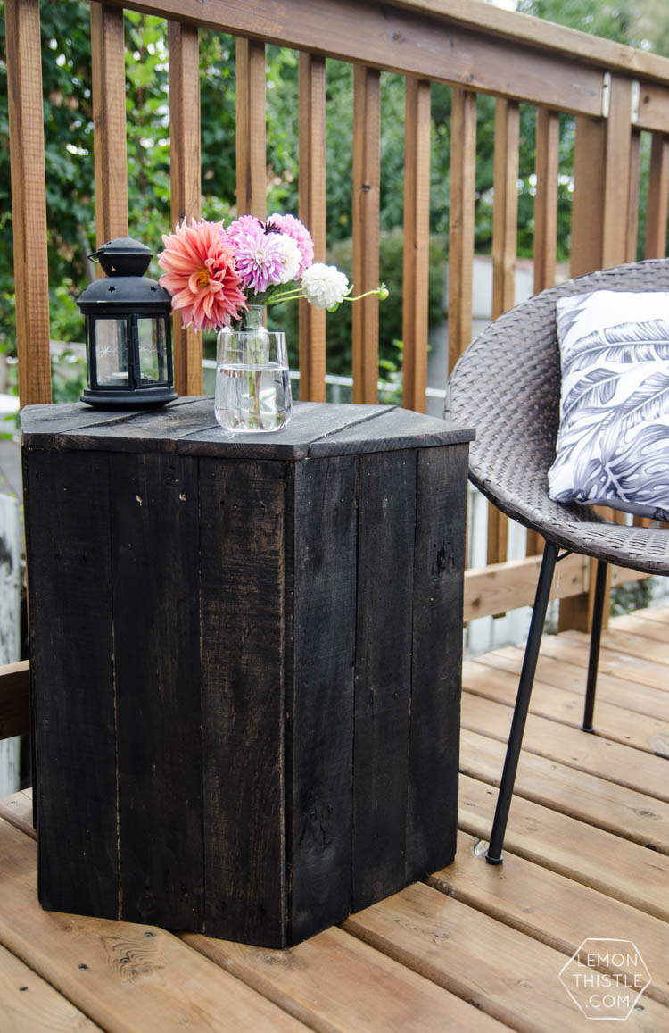 DIY Hexagon Side Table- I can't believe this is made out of pallet ...