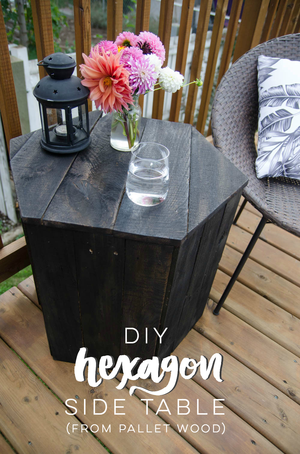 DIY Hexagon Side Table- I can't believe this is made out of pallet wood! SO nice for an afternoon build.