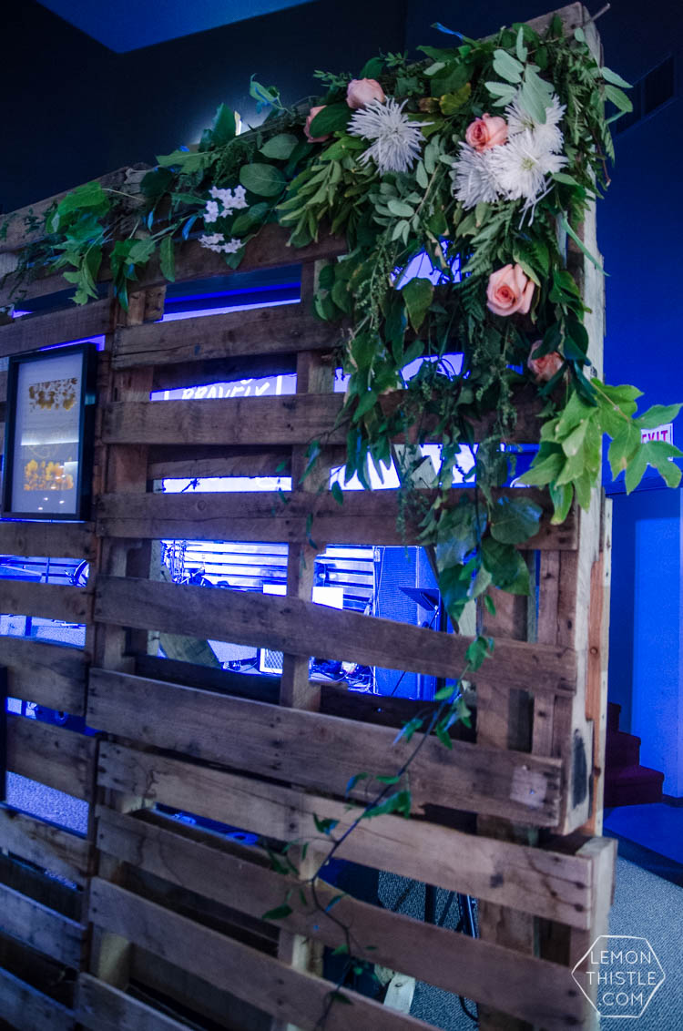 Love this idea! florals on pallets for a stage wall