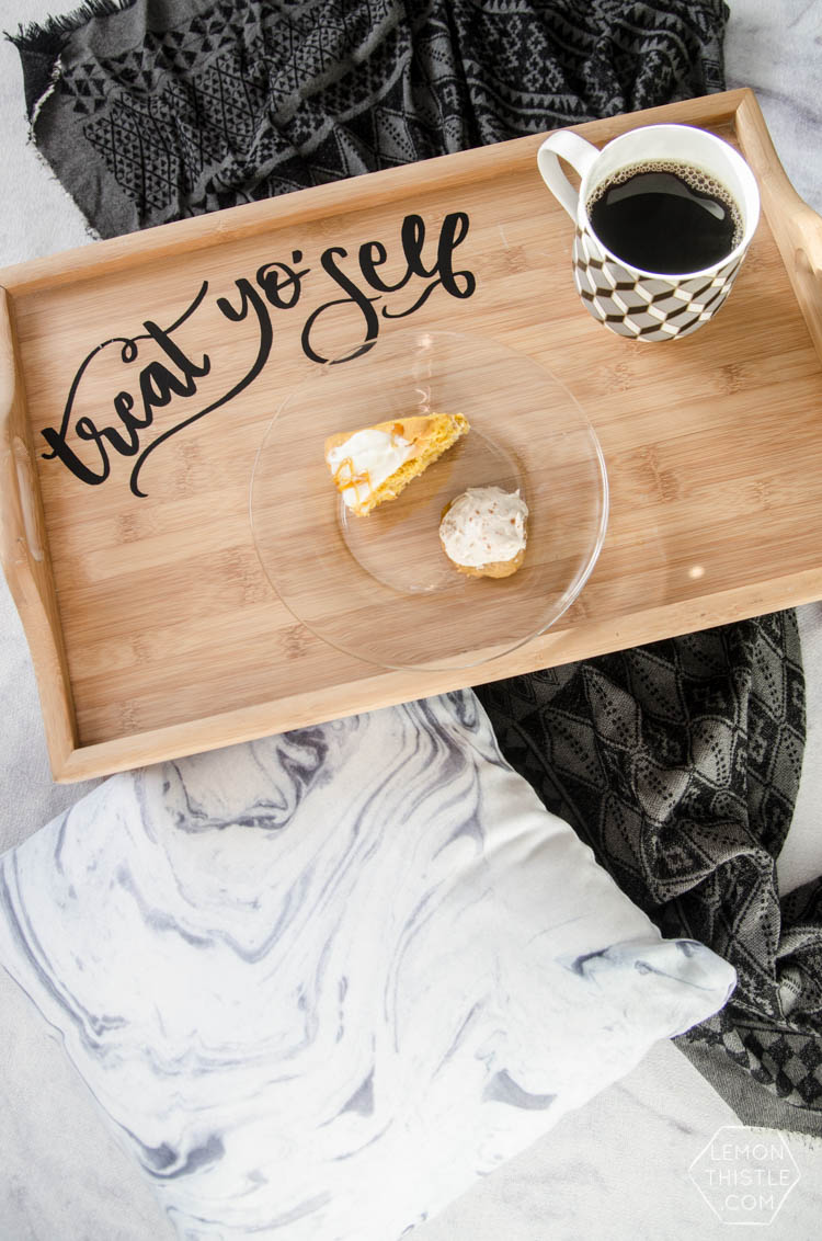 DIY Breakfast Tray Upgrade- Treat yo'self... how cute is that! Would make a great Christmas gift. (with template!)