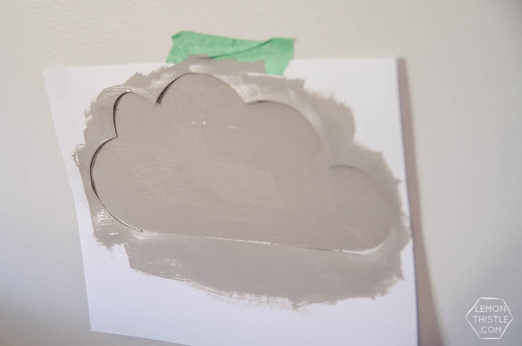 DIY painted wall stencils 2 ways. I LOVE that cloud accent wall! So fun for a shared kids room