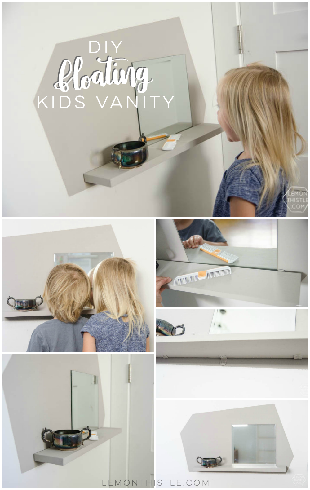 This DIY floating vanity for kids is perfect for tight spaces! It has everything you need but takes up no floor space.