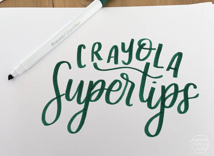 Love seeing what all the different brush markers look like! Brush Lettering info resource- Crayola Supertips