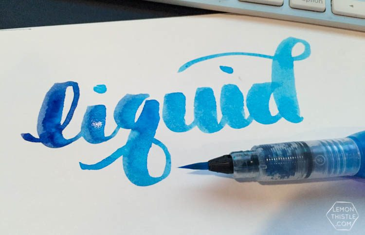 Love seeing what all the different brush markers look like! Brush Lettering info resource- Pentel Aquash with liquid watercolor