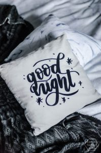 DIY Handlettered throw pillow- love the flocked look! Plus the design is a free download