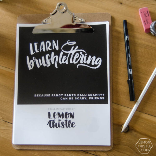 Love this idea! A printable workbook with practice sheets to learn brush lettering at your own pace