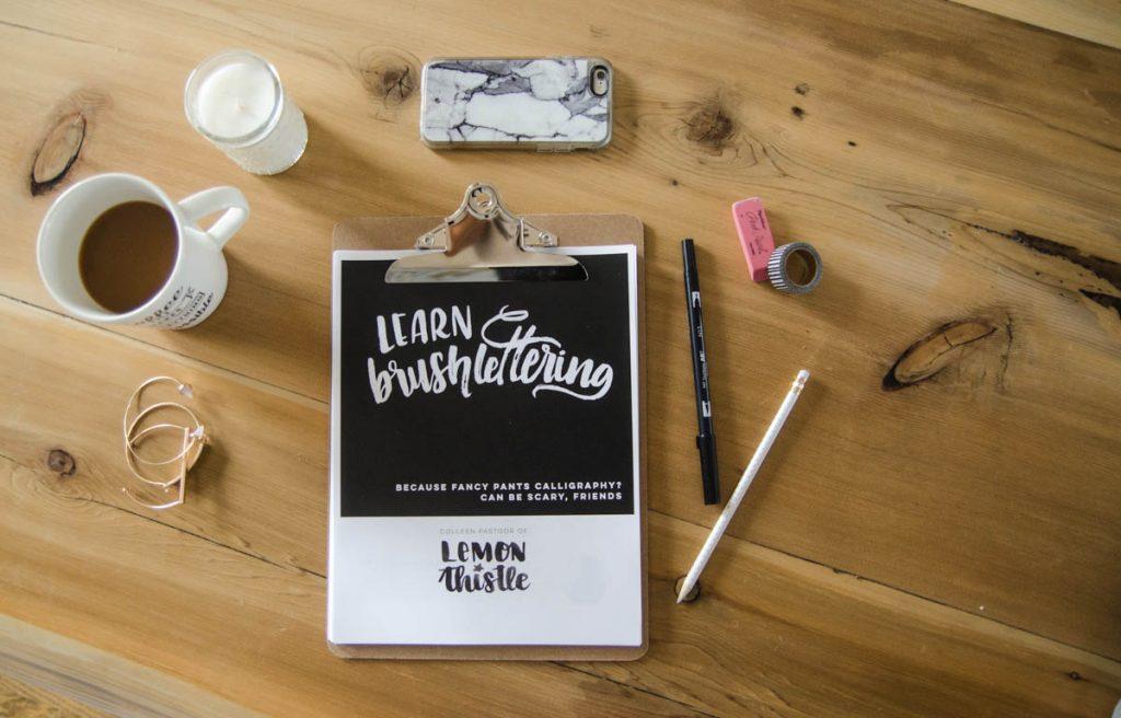 Lemon Thistle Learn Brush Lettering Workbook
