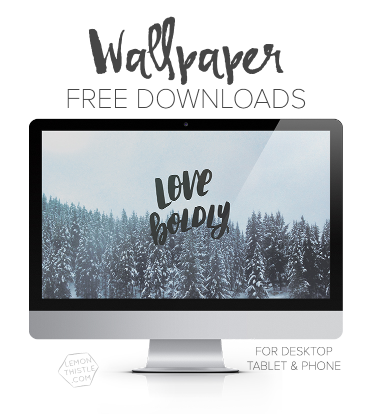 Free Tech Wallpapers each month! I love the handlettering on all of these- and there's so many to choose from!