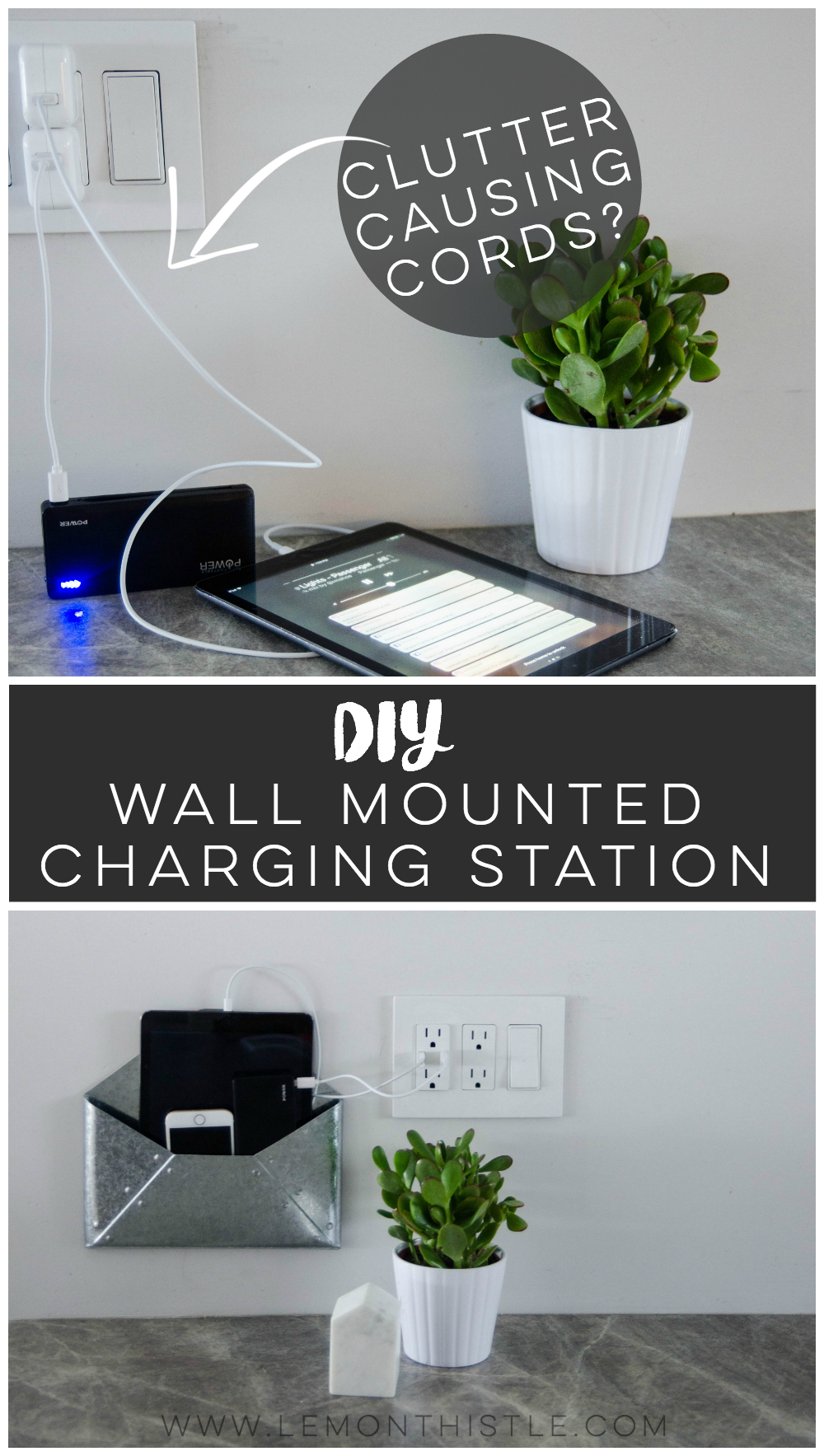 DIY Wall Mounted Charging Station- I love that this doesn't clutter up any counter space - the USB plug is perfect!