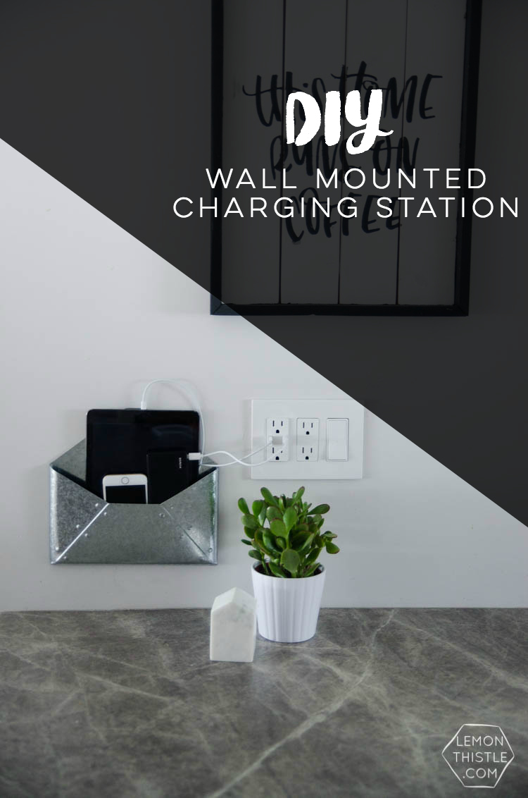 DIY Wall Mounted Charging Station- I love that this doesn't clutter up any