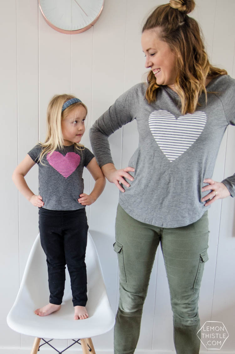 DIY Heart Shirt with free design- I love the stripes! And totally perfect for Valentines Day