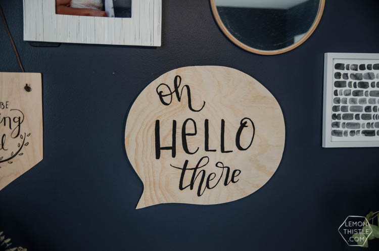 DIY Speech Bubble Sign made of plywood- I LOVE this! So fun for a gallery wall or kids room