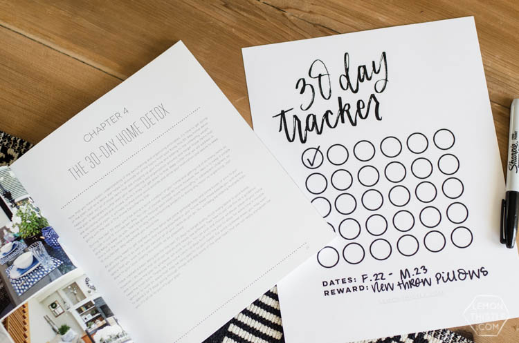 Free Printable 30 Day Tracker- love the simplicity and handlettering! You could use this for anything- diets, challenges, bible reading, kids chores or exercise!
