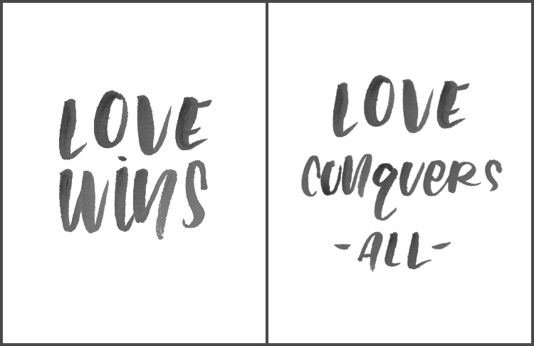 2 Free handlettered printables about love- perfect!