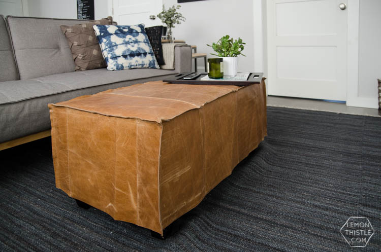Swell Diy Leather Slip Cover For An Old Storage Ottoman Lemon Inzonedesignstudio Interior Chair Design Inzonedesignstudiocom