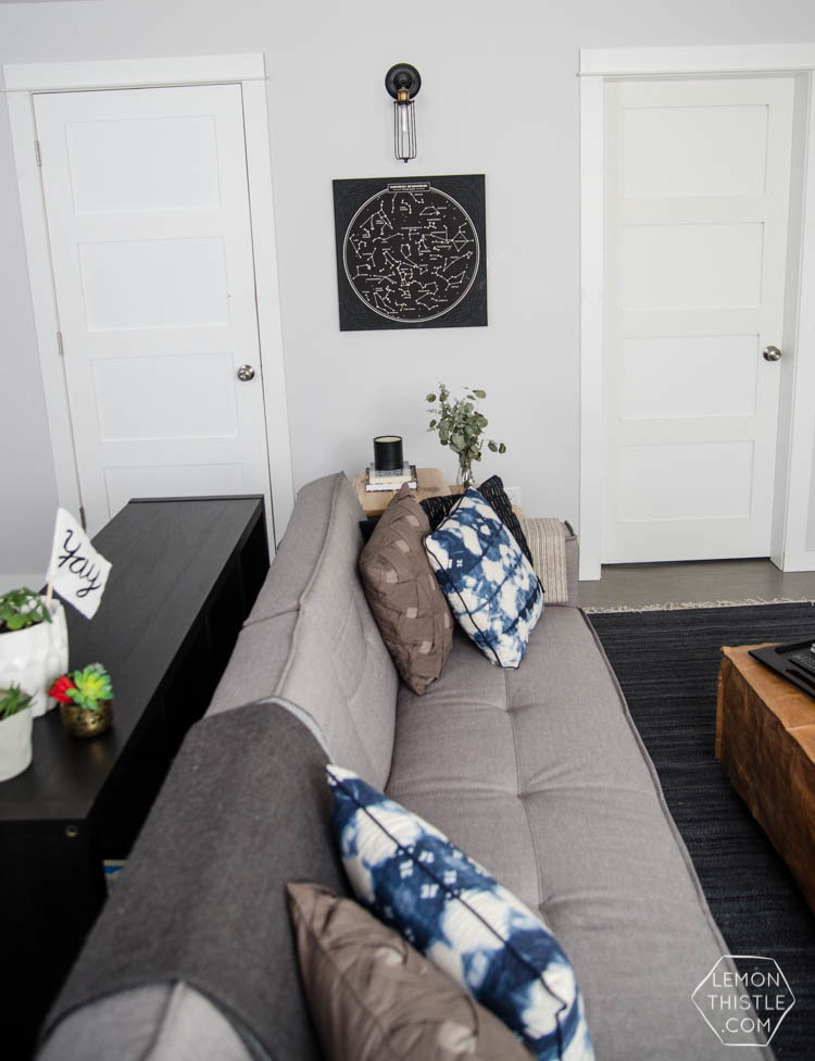 Love the rec room- such a good use of space and those built ins!