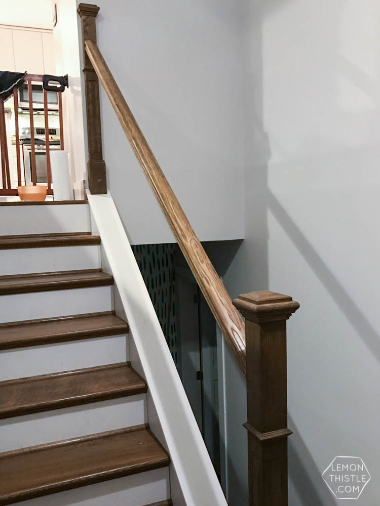 Wooden Handrail On Split Level Stairs