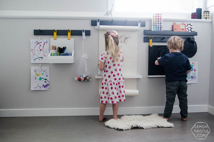 How to create a wall mounted art station for kids- perfect for small spaces!