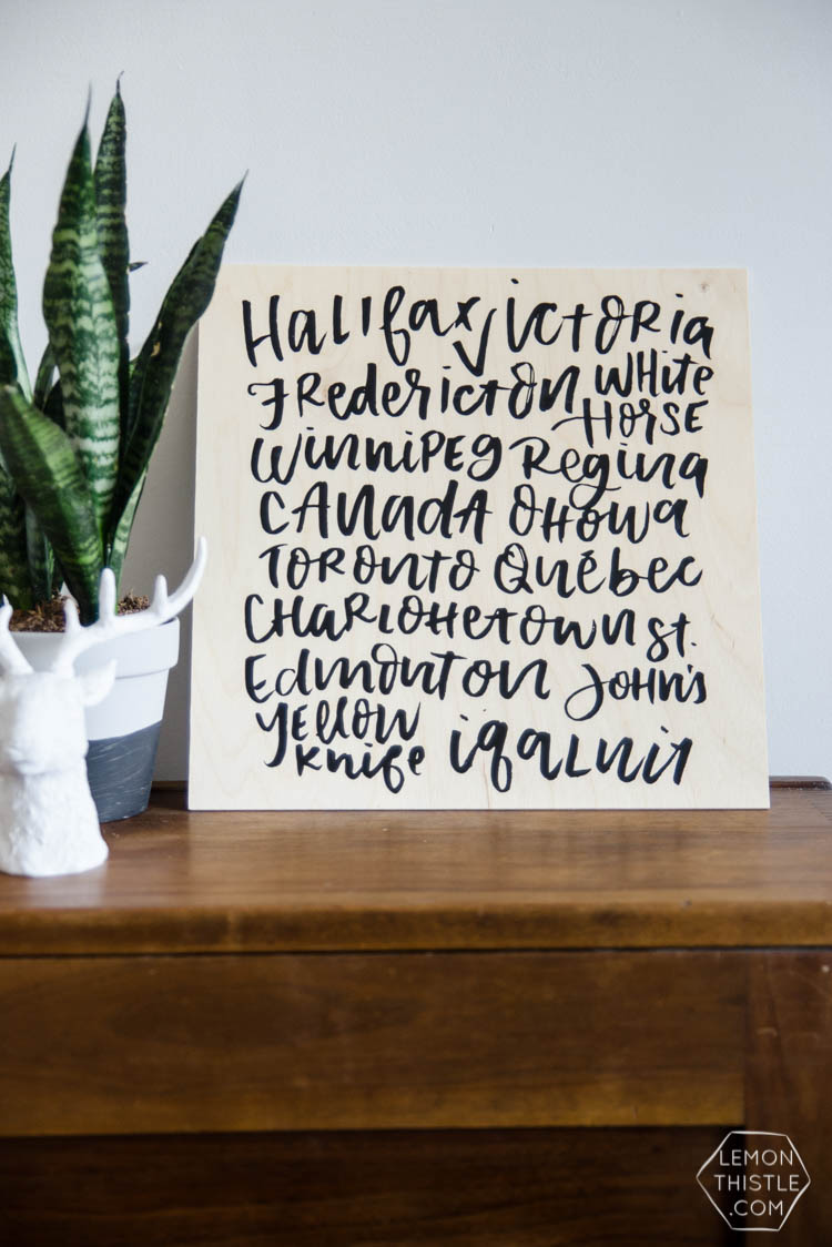 Love this! DIY Canadian cities art- love that it's modern and not all red. It's a DIY without any art skills- so perfect!