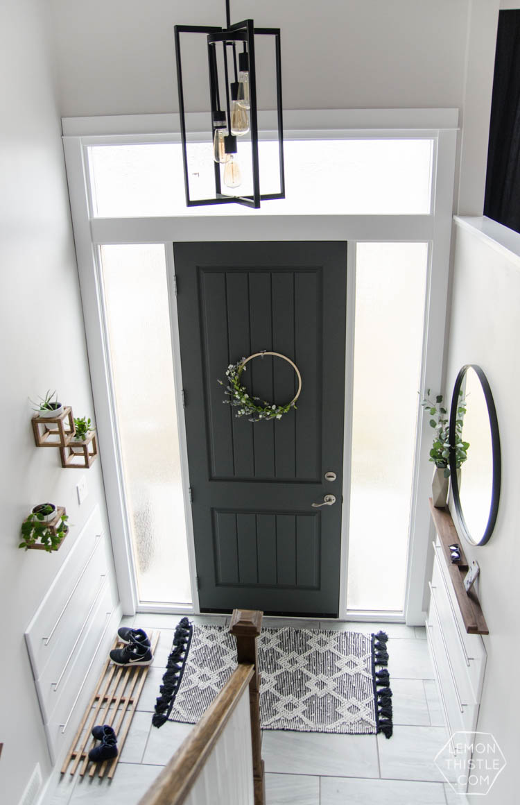 A diy split level entry makeover before after lemon for Bi level foyer ideas