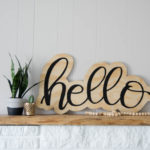 DIY Hello Cutout Plywood Sign