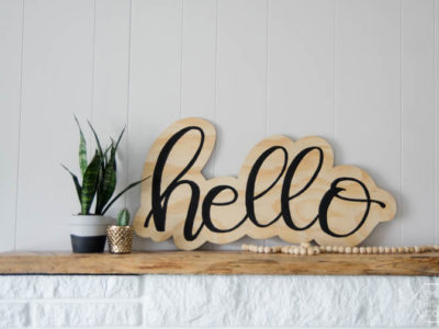 DIY plywood cutout hello sign... I LOVE this! And the video makes it look so simple
