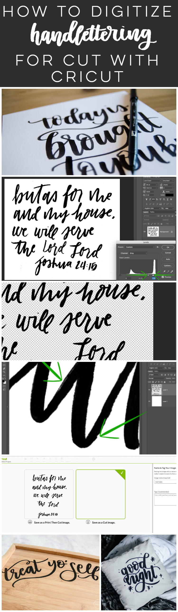 how to digitize hand lettering for cut with cricut- such a great tutorial!