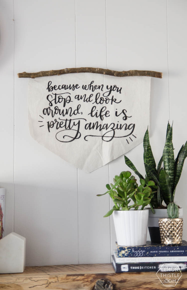 DIY Rustic Canvas Banner- love this! and the hand lettered quote is great too