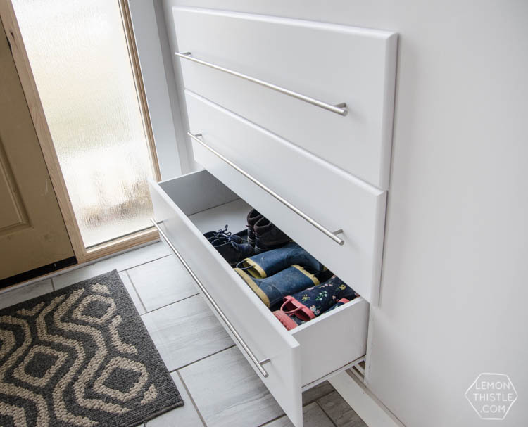 Split Level Entry Shoe Storage Drawers by Lemon Thistle