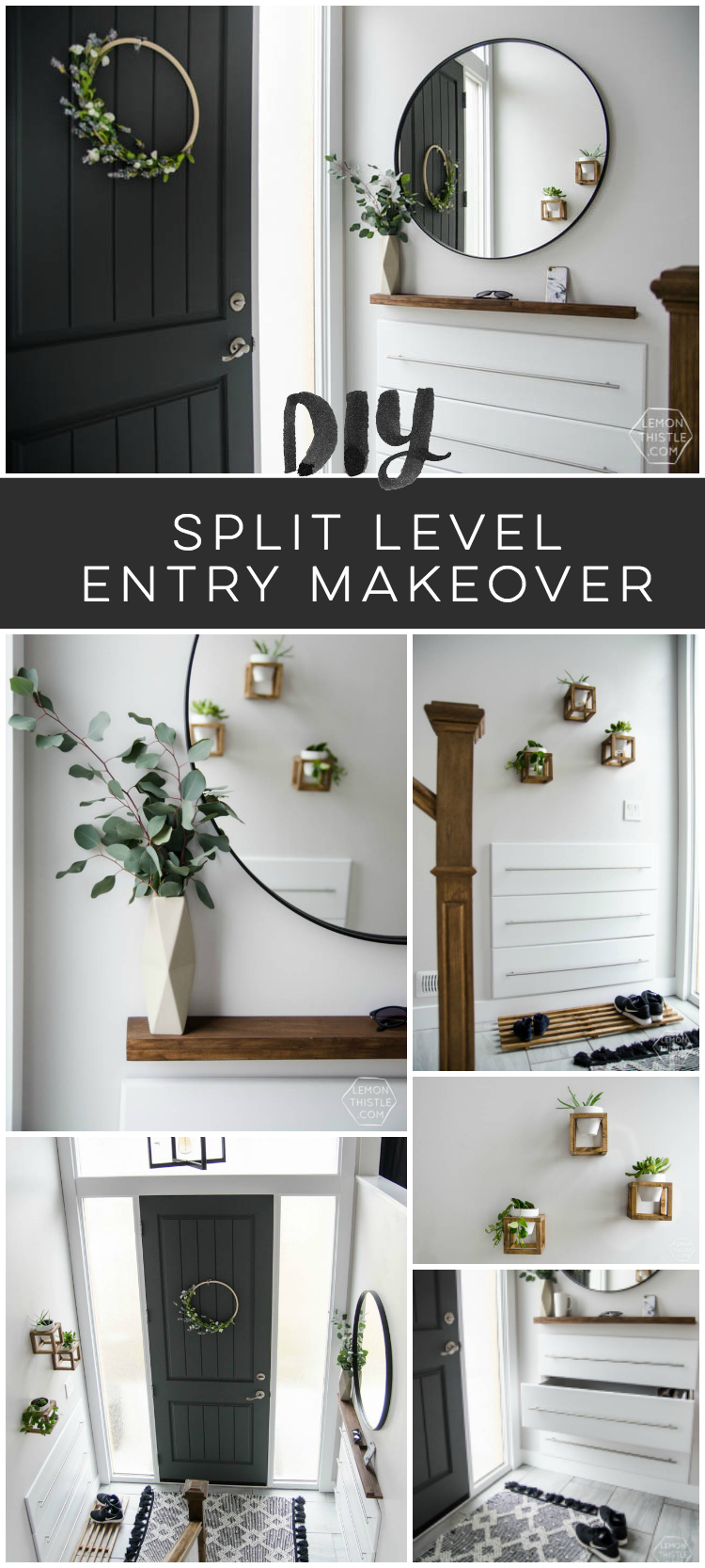 A diy split level entry makeover before after lemon for Split entry living room decorating ideas