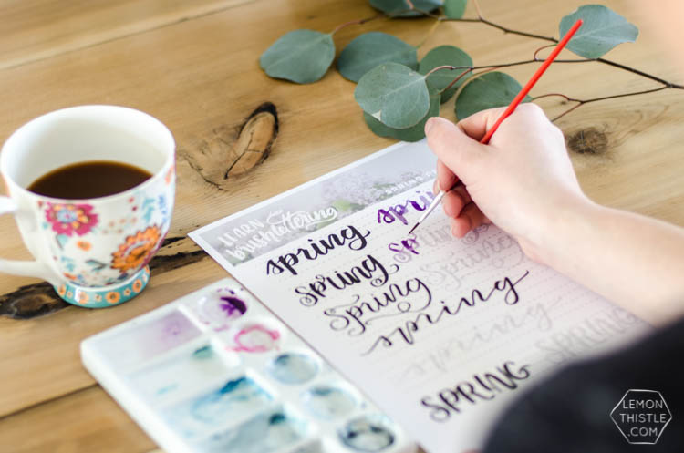 Spring hand lettering practice sheet free printable for brush pens or watercolor