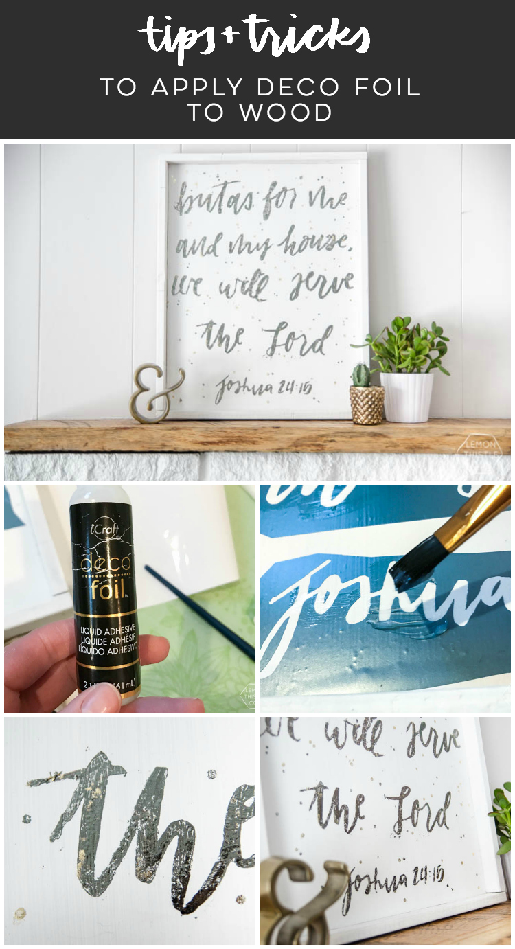Tips and tricks to apply deco foils to wood- using a stencil and giving a crackled, rustic finish- LOVE the gold leaf overlay look