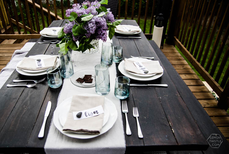 Lilacs and Linen- Love this casual outdoor dining tablescape for spring