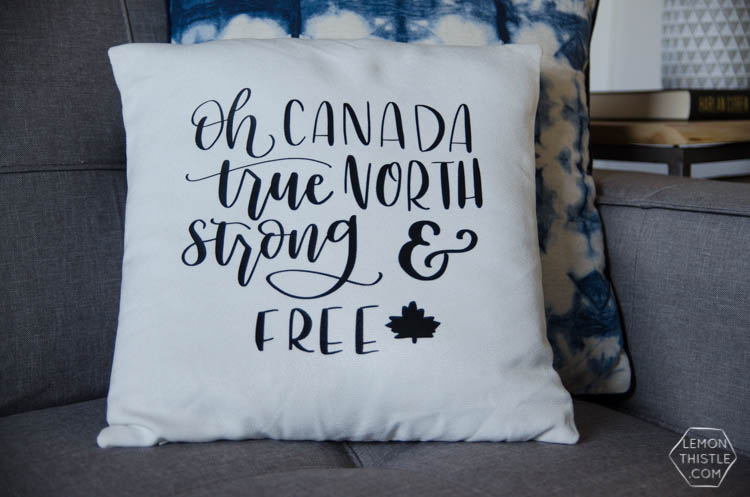 DIY Canadian Throw Pillow with free hand lettered design!