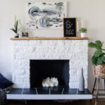DIY Painted Stone Fireplace Refresh (Live Edge Mantle!)