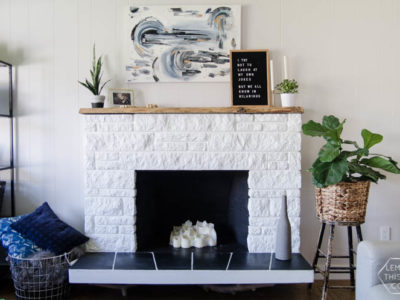 DIY Fireplace Refresh with painted stone & live edge mantle- great tips on how to!