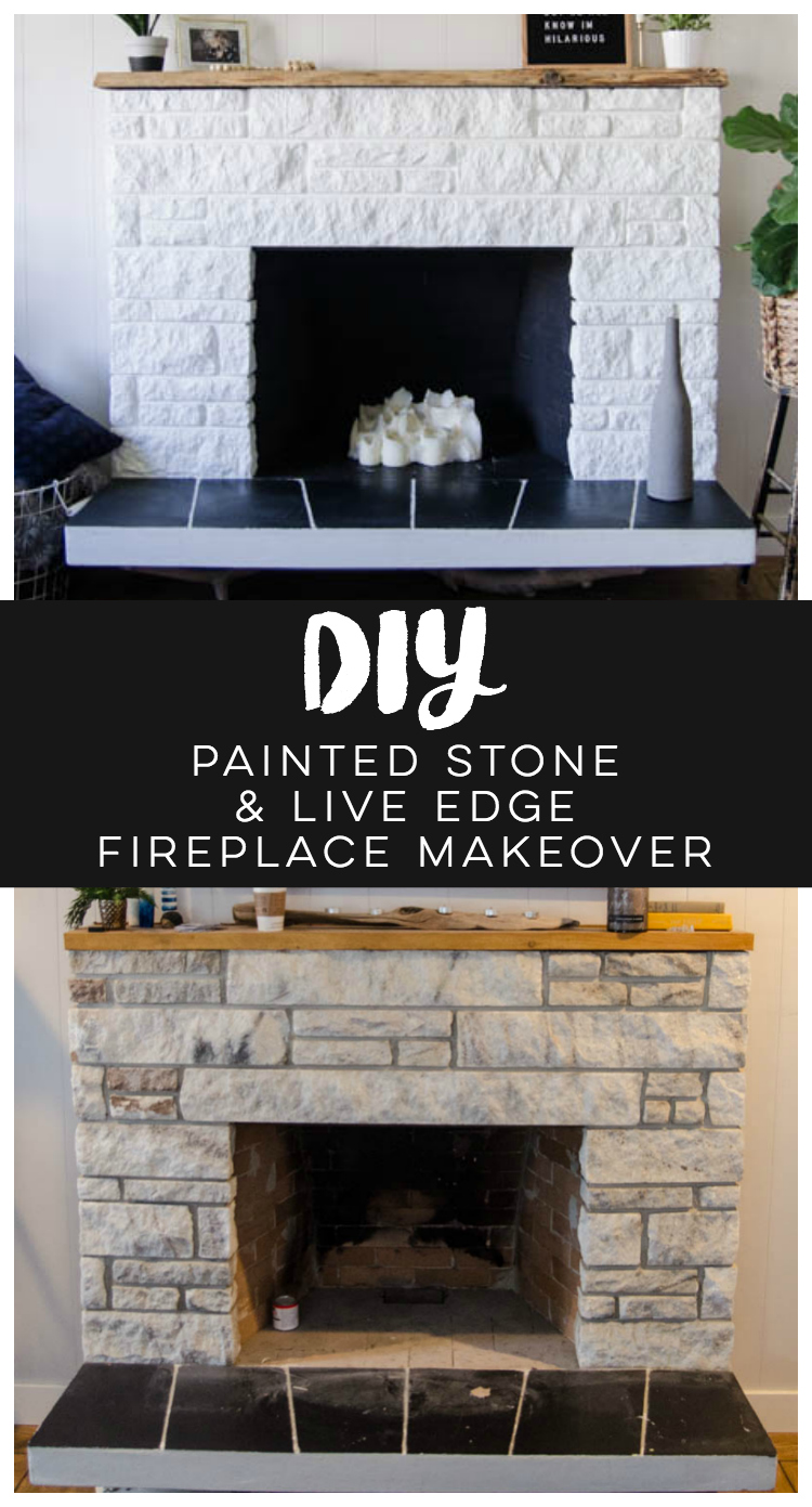 diy painted stone fireplace refresh live edge mantle lemon