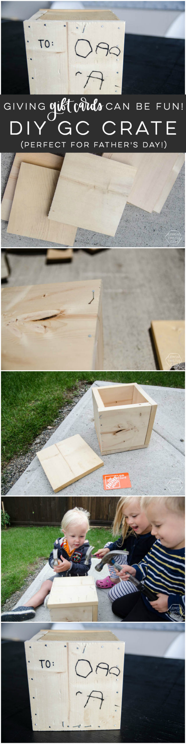 Gift Card packaging idea- wood crate DIY with kids