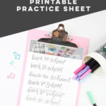 Printable Brush Lettering Practice Sheet- Back To School