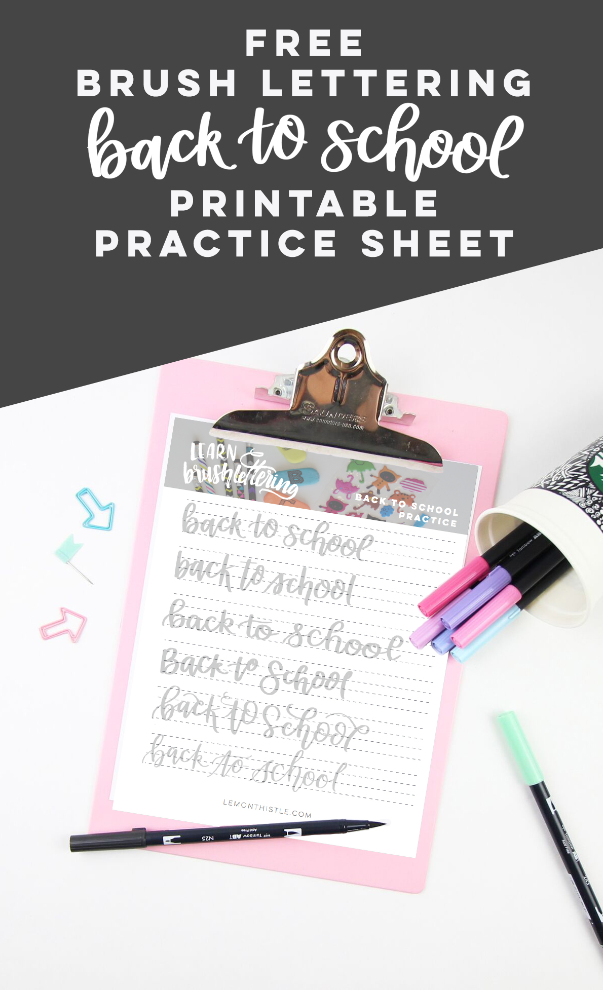 free printable brush lettered practice sheet for back to school